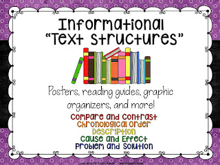 Teaching informational (nonfiction) texts should be a huge part of your literacy instruction.  Check out this post with ideas for incorporating text structure activities into your lessons.  Informational text lessons, teaching text structures, text structure activities, text struture printables