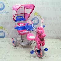 sepeda roda tiga family 2 kursi musik dobel kuda pesawat
