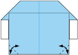 Bước 6: gấp tạo nếp gấp 2 cạnh giấy