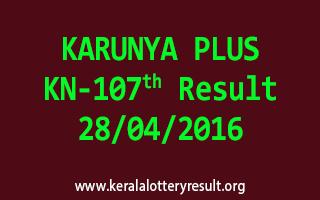 KARUNYA PLUS KN 107 Lottery Result 28-4-2016