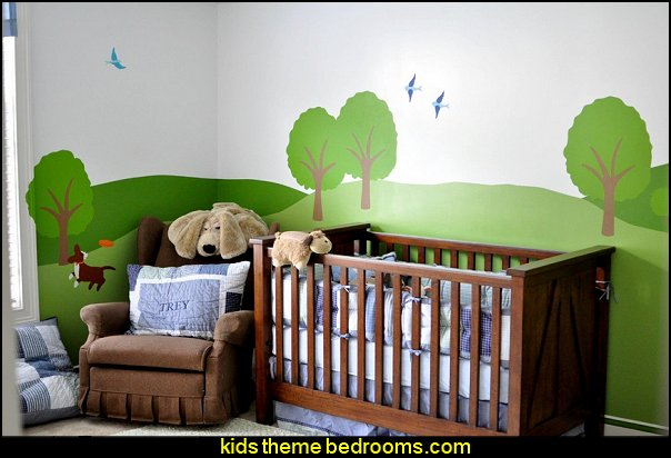 Cat and Dog Wall Mural Stencil  treehouse theme bedrooms - backyard themed kids rooms - cat decor - dog decor - bugs and critters theme bedrooms - camping theme bedrooms - Happy Camper little boys outdoor theme bedroom