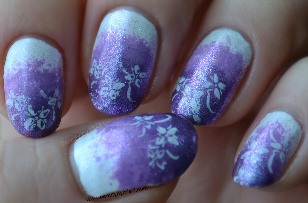 ombre nails, nail art stamping