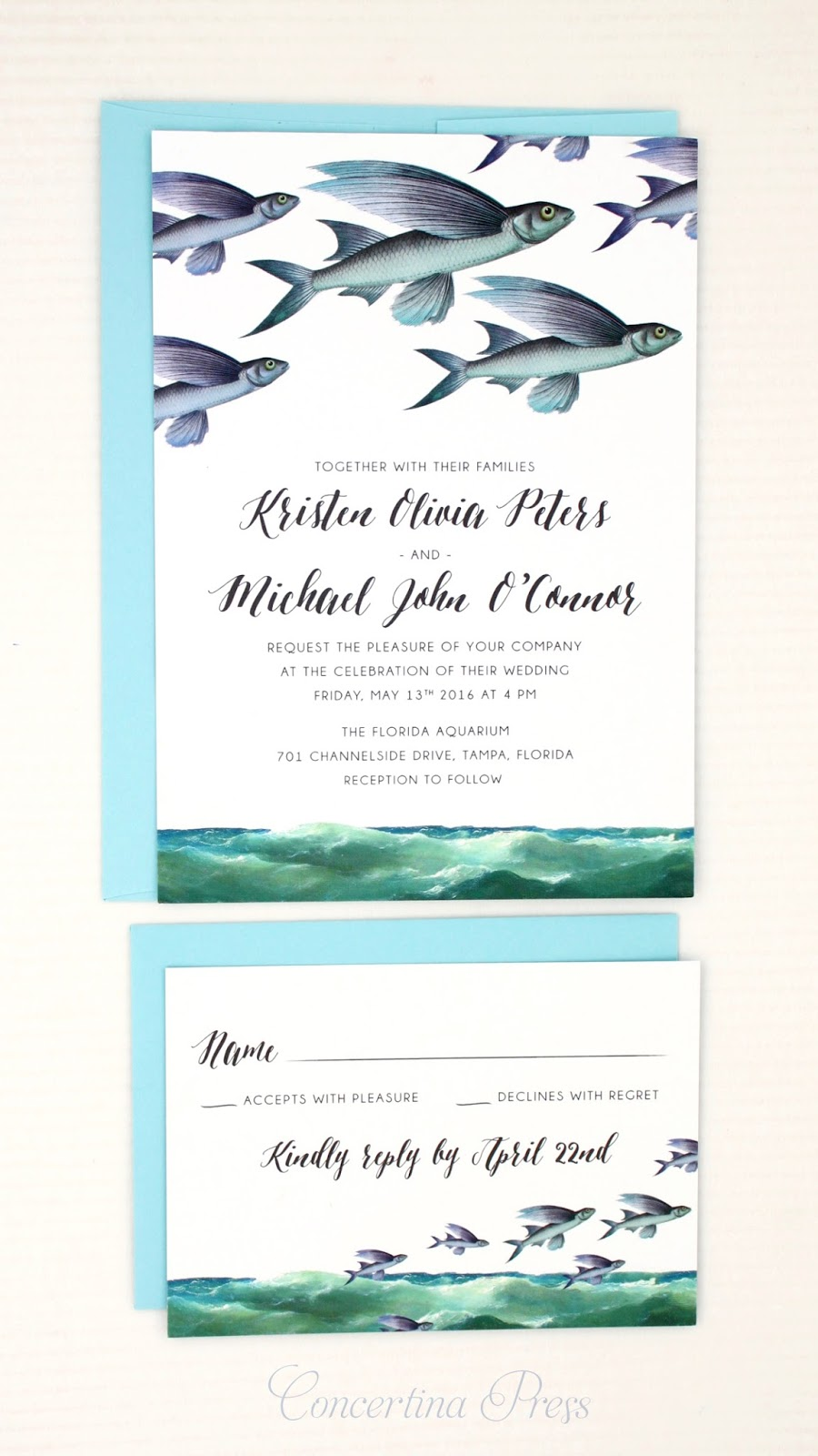 Flying Fish Wedding Invitation and RSVP set from Concertina Press