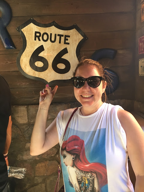 Jamie Allison Sanders, Poprageous Rogue Princess Ariel Relaxed Tee, Radiator Springs, Cars Land, Route 66 sign