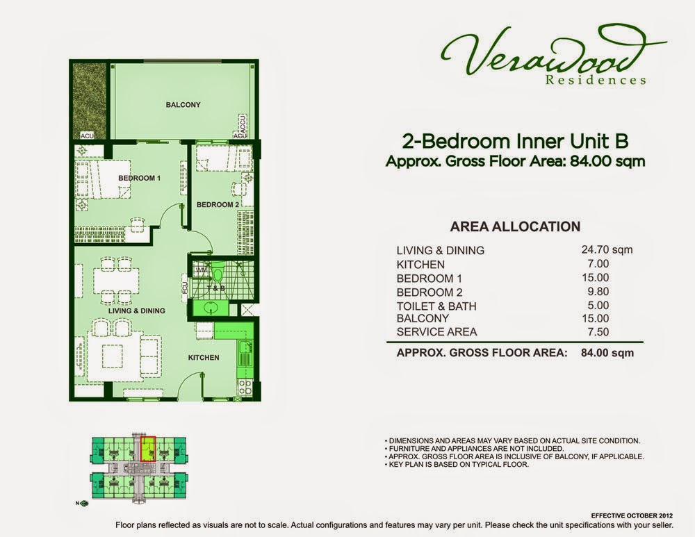 Verawood Residences 2-Bedroom 84sqm unit plan