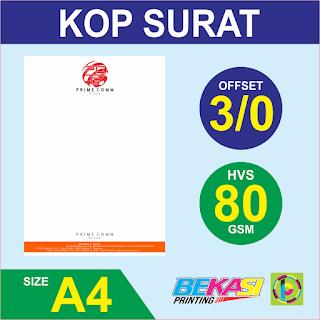 Cetak Kop Surat 3 Warna  HVS 80 GSM