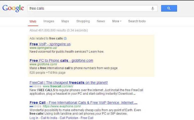 Google search  results with ads: Google Adsense ads or Ads by Google