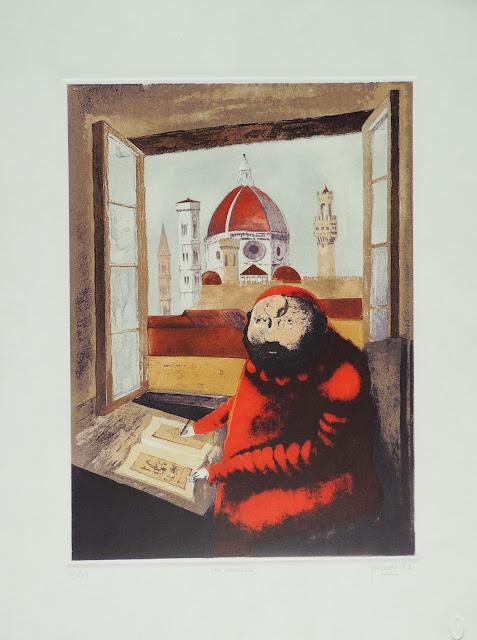 Fernando Pereznieto litografía surrealista monje rojo