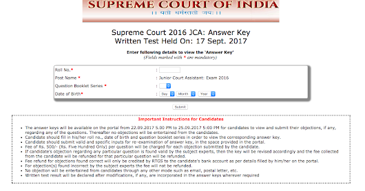 Supreme Court JCA 2016 Exam Answer Keys Released, Check Here