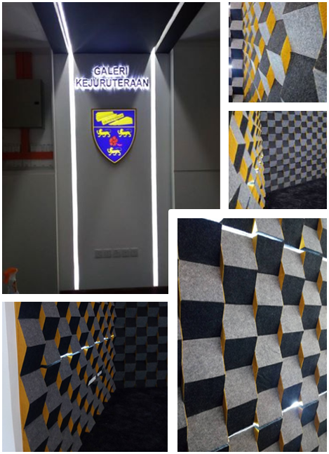 Home » » Renovation works completed kat Engineering Gallery @UM. 3D Wall panel yang unik.