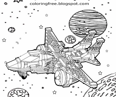 Milky Way galaxy space shuttle challenger orbiter mission vintage spaceship Lego kids coloring pages