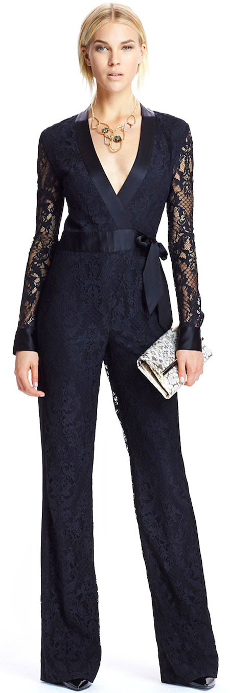 1e67b69dd37 DIANE von FURSTENBERG Wrap Jumpsuit - Bloomingdale s Exclusive Margot Lace  This lacy-luxe one-piece combines classic style with contemporary glam for  an ...