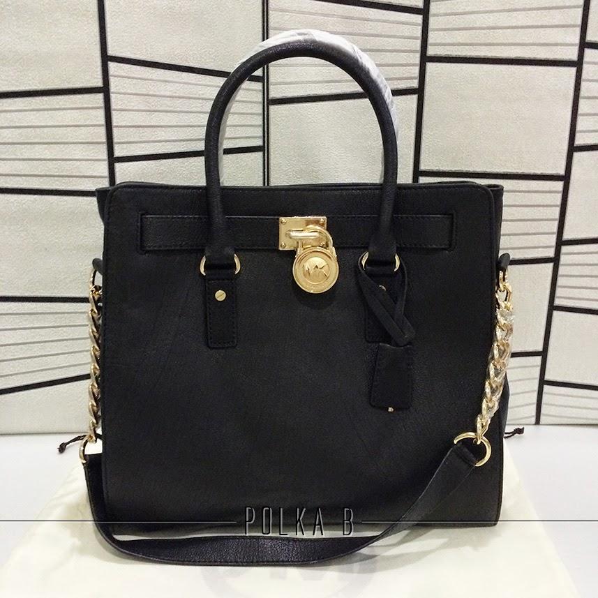 29d86f87d8aab5 Michael Kors Large Hamilton Leather Tote - Black | Polka B ...