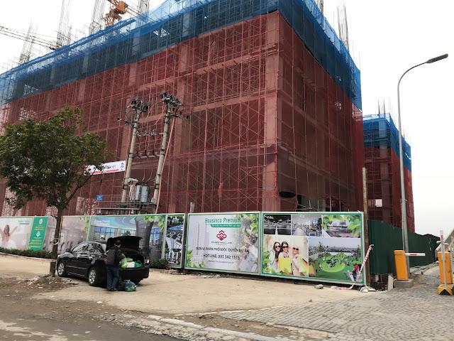 Ảnh chụp tiến độ thi công chung cư Housinco Premium đã xây đến tầng 5