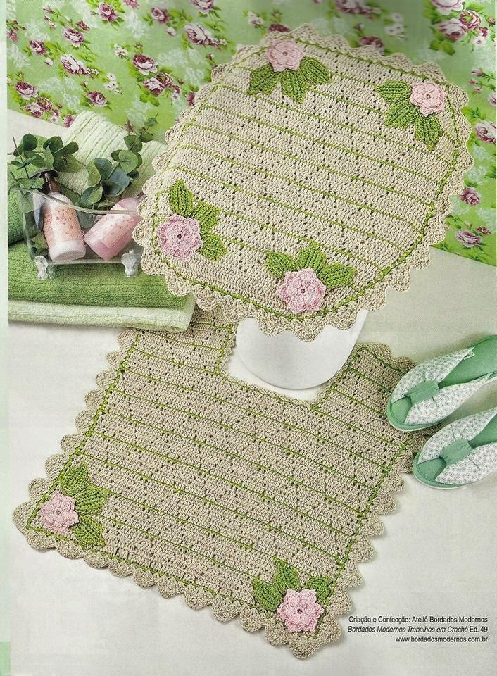 Cubre tapa de inodoro al crochet y alfombra