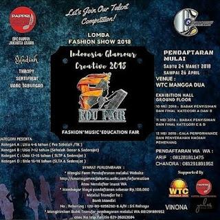 lomba fashion show 2018 indonesia glamour creative 2018