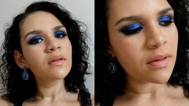 maquiagem azul metálico para festas