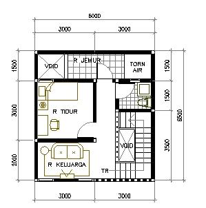 denah kontrakan minimalis dengan hanya 1 kamar tidur