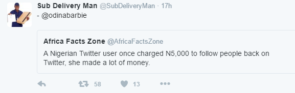 Capture Meet Nigerian Twitter User, Odinabarbie, Who Charged N5,000 To Follow People Back news