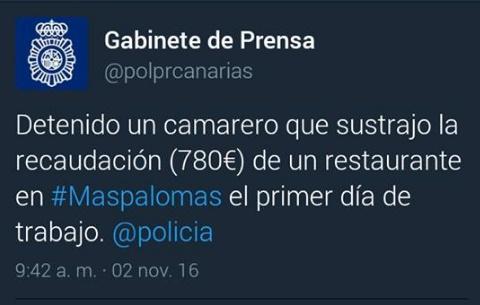 camarero detenido en Maspalomas por robar la recaudación de un restaurante en su primer día de trabajo