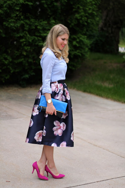 navy floral dress, pinstripe top, Clare V. clutch, pink heels