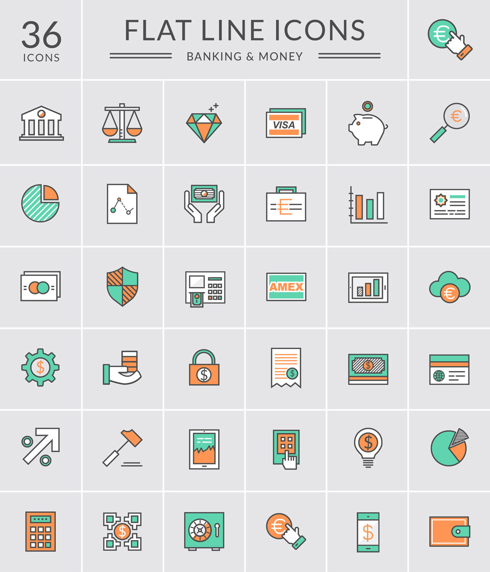 36 Free Bank and Money Icons