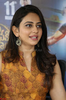 Rakul Preet Singh smiling Beautyin Brown Deep neck Sleeveless Gown at her interview 2.8.17 ~  Exclusive Celebrities Galleries 203.JPG
