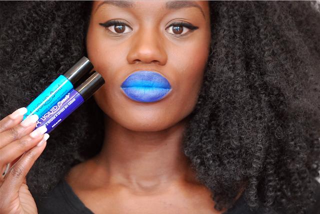 Swatch nyx liquid suede, swatch lipstick, rouge à lèvre peau noire, nyx, rouge à lèvres bleu