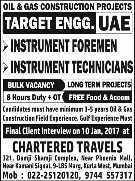 Oil & Gas Instrumentation Jobs in TARGET Engineering Construction Company LLC UAE - Final Client Interview - Chartered Travels