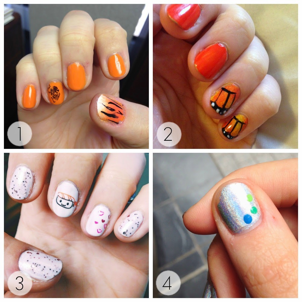 Tigers, butterflies, and sushi!  Some nail art from this summer  |  Lindsay Eryn