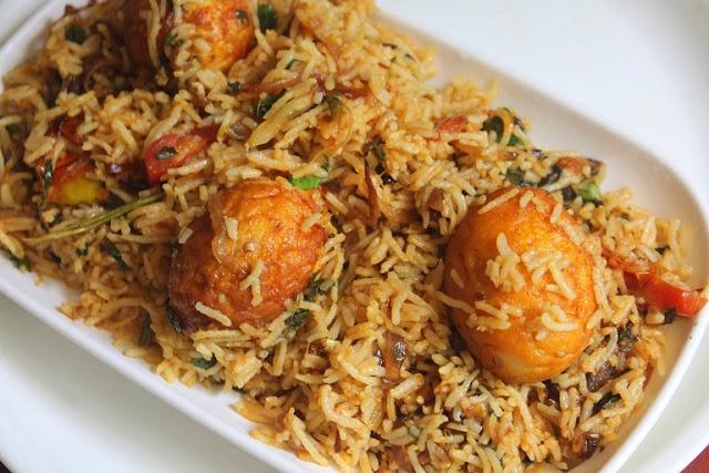 Street Food Style Egg Biryani Recipe - Thattukada Muttai Biryani Recipe