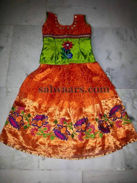 Lotus Floral Orange Lehenga