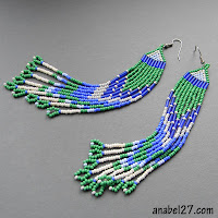 сине-зеленые длинные серьги