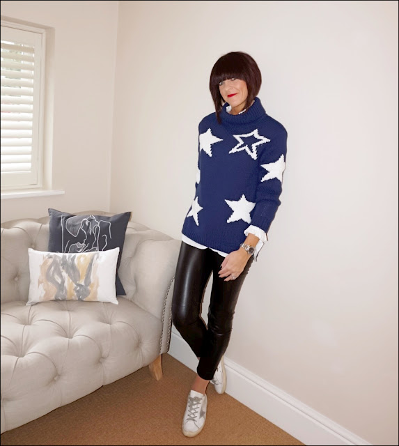 My Midlife Fashion, Marks and Spencer Chunky Star Print Polo Neck Jumper, french connection faux leather trousers, golden goose superstar trainers, uniqlo frill high collared shirt