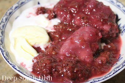 Fresh blackberries, sweetened and stewed and topped with sweet steamed dumplings. Serve over vanilla ice cream.