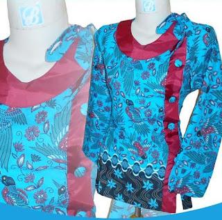 Contoh Baju Kombinasi Batik dan Polos