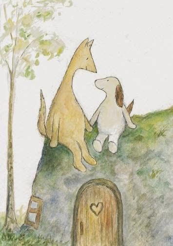 Postcard illustration of Hulmu Hukka and Haukku Spaniel sitting at top of their cave home