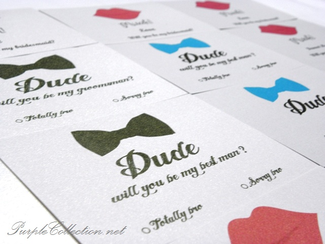 Dude, will you be my best man, totally bro, sorry bro, lynne's, wedding, invitation cards