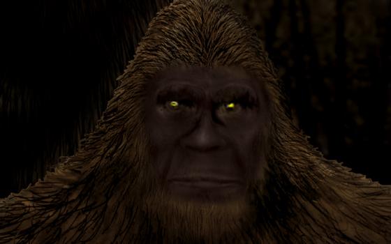 Texas Trucker Encounters Huge Bigfoot Eating Roadkill