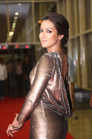 Actress Catherine Tresa in Golden Skin Tight Backless Gown at Gautam Nanda music launchi ~ Exclusive Celebrities Galleries 048.JPG