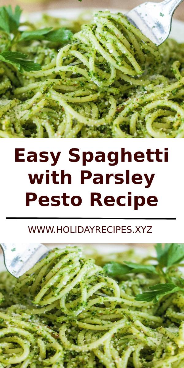 Easy Spaghetti with Parsley Pesto Recipe #spaghetti #pesto #italianfood #italianrecipes #sidedish #dish