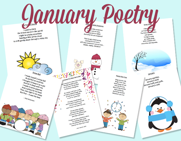 A collection of 7 January poems suitable for primary classrooms. Includes both colour and black/white versions. FREE! GradeONEderful.com