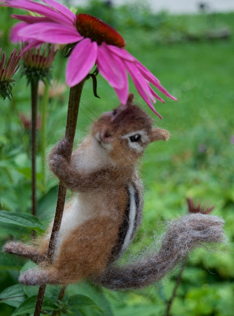 Realistic needle felt chipmunk