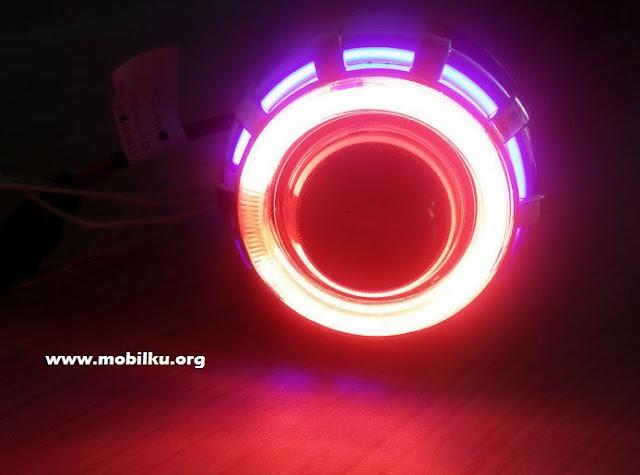 lampu, led, mobil, modifikasi, bundar, lingkarang, warna, warni, indah, depan