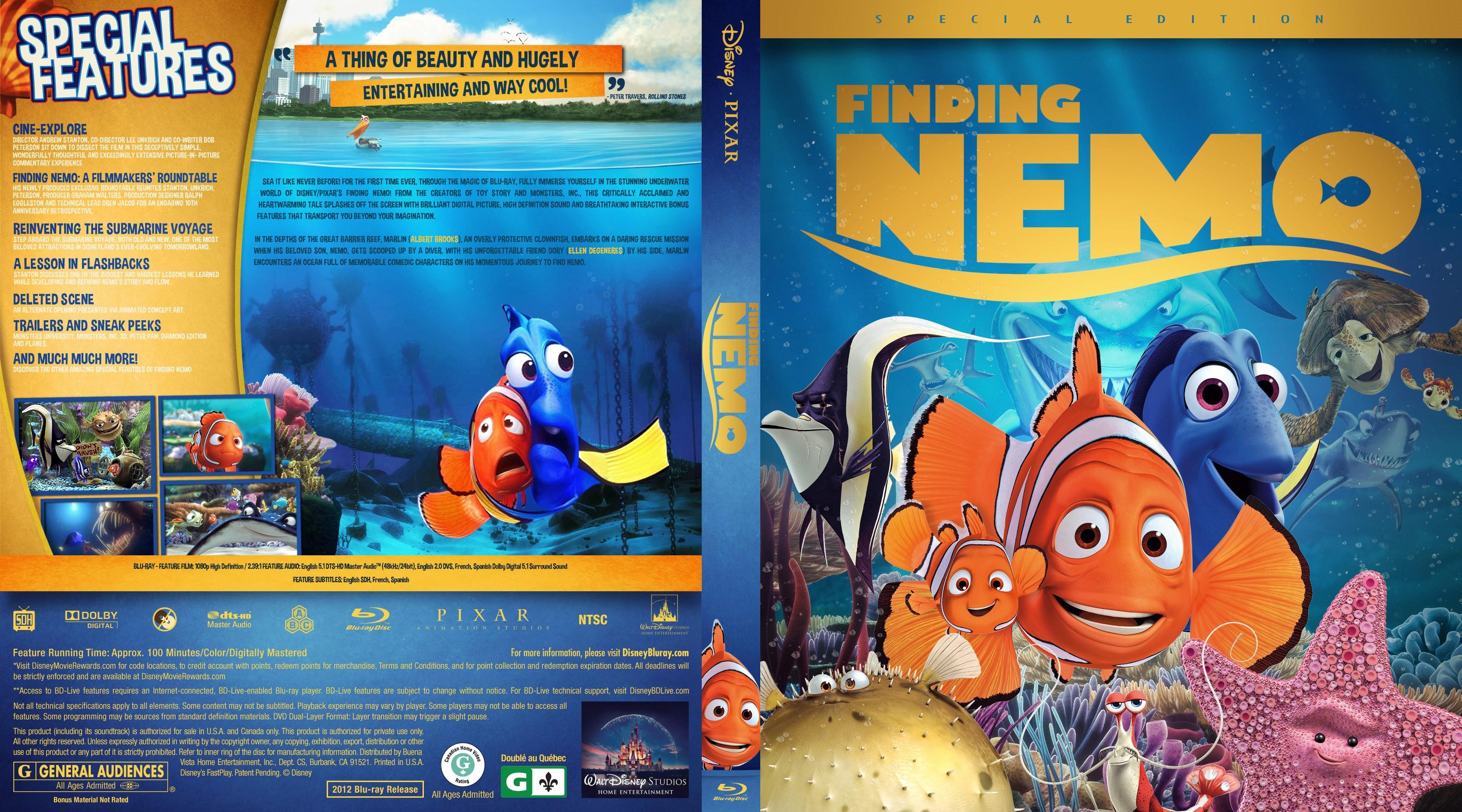 Finding Nemo Bluray Cover - Cover Addict - DVD and Bluray ...