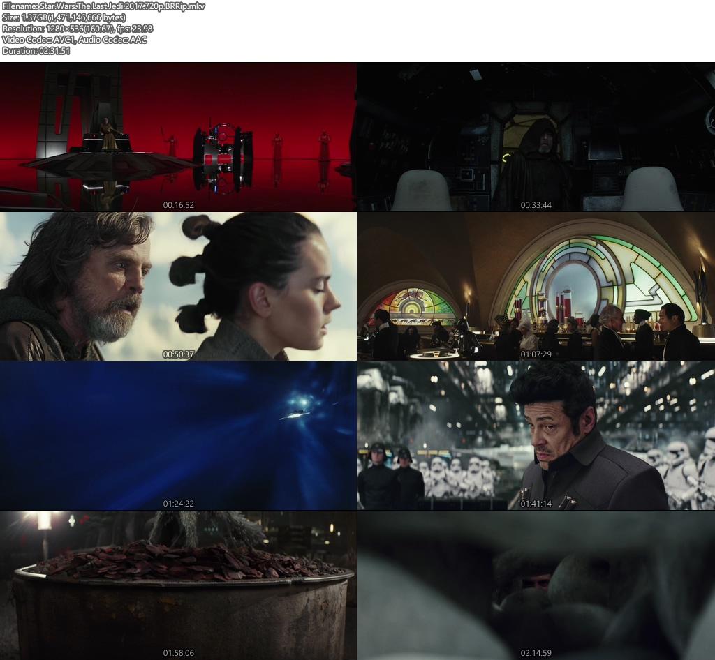 Star Wars The Last Jedi 2017 720p BRRip | 400MB 480p | 200MB HEVC Screenshot