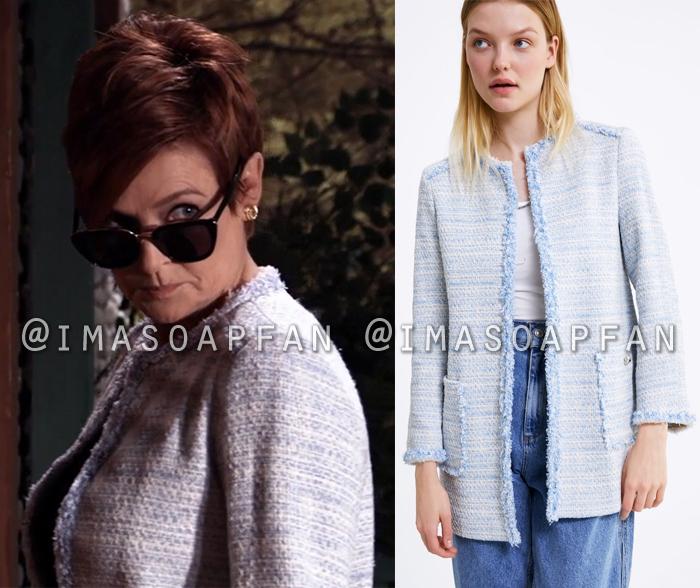 Diane Miller, Carolyn Hennesy, Light Blue Tweed Topper Jacket, General Hospital, GH