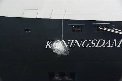 Champagne christening ms Koningsdam. Photograph by Janie Robinson, Travel Writer