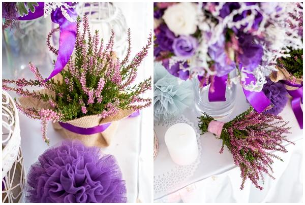 Wrzosowe dekoracje na stołach weselnych.