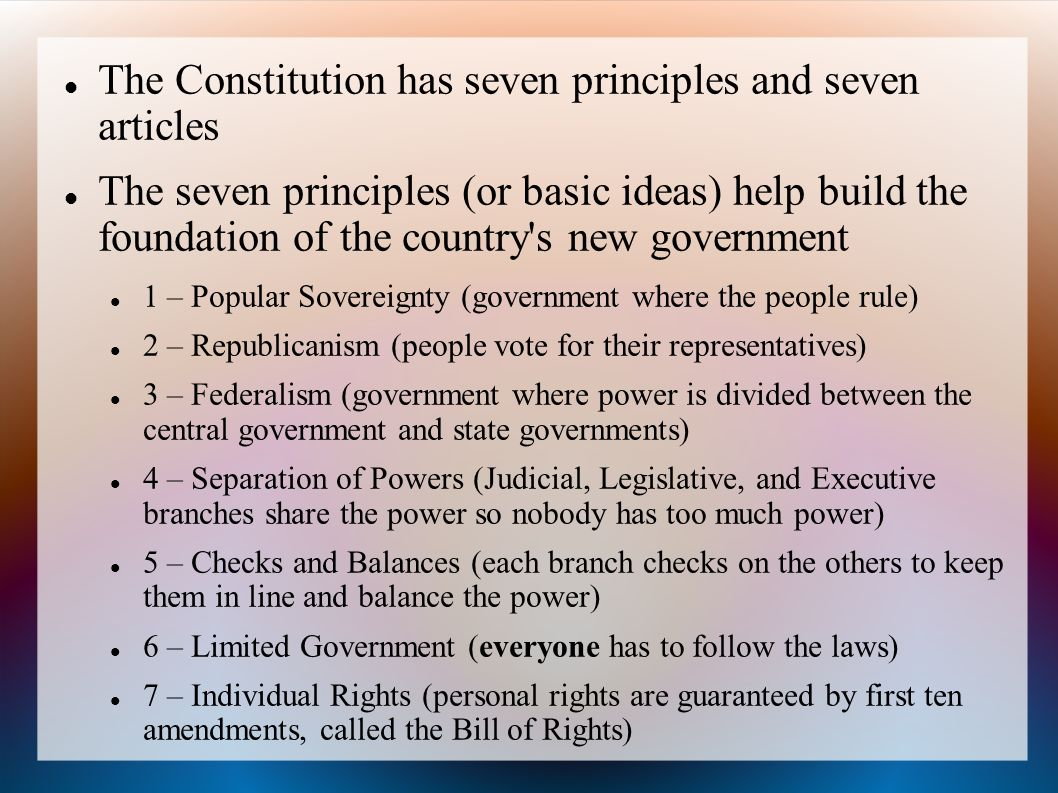 seven articles u s constitution and purpose each Celebrate constitution day will jigsaw into new groups and brief each other on their articles purpose, and philosophy of the united states constitution.